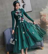 Las mujeres de lujo bola Pullover vestido verde Knitting patchwork malla vestido Casual bordado Floral rebordear vestido