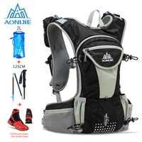 AONIJIE 12L Trail Running mochila al aire libre de hidratación ligera Paquete de agua escalada deporte bolsa ciclismo senderismo con bastón