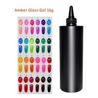 MSHARE 1 kg ámbar translúcido de color esmalte de uñas de Gel de colores de esmalte de uñas manicura del arte decoración de vidrio creativas Gel polaco
