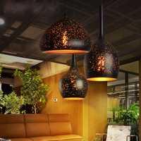 Vintage colgante luces de hierro loft poroso retro e27 grabado pantalla industrial colgar lámpara nórdica iluminación comedor licht