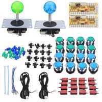 2 jugadores Arcade Joystick Kits de bricolaje con 2 cero retraso Teclado + 16 LED botones + 16 microinterruptor + cables Joystick Arcade conjunto