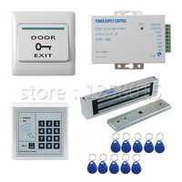 125 Khz RFID controlador blanco Control DE ACCESO kit para 1 puerta Control + 180 kg bloqueo magnético + interruptor de puerta + power + 10 RFID FOBs clave