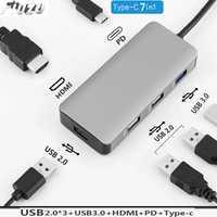 6in 1 USB-C portátil Docking Station USB 3,0 HDMI RJ45 Gigabit PD para MacBook Samsung s10 + s10 s9 estación de muelle móvil s8 tipo-c