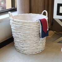 Casa de almacenamiento y organización lavandería cesta hecha a mano tejido de mimbre redonda ropa clasificadores cesta para ropa cesto de roupa