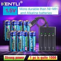 8 piezas 1,5 v 3000mWh sin efecto de memoria aa recargable li-polímero li-ion batería de litio + 4 ranuras cargador USB