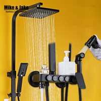 Baño de lujo puro negro conjunto de ducha con ducha de bidé con estante bidé baño ducha conjunto grifo de la ducha bañera grifo de conjuntos