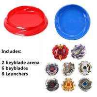 Spinning Top para chico (6 bayblades + 6 lanzadores + 2 arena estadios) aBeybladely explosión Gyro Arena edición Original Dios serie