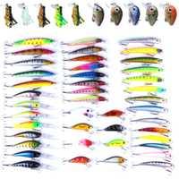 53-56 piezas de atraer a la pesca duro tamaño mixto Color de plástico duro de Bassbait Wobblers agua dulce Minnow manivela Artificial duro cebo de pescado