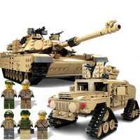 KAZI 10000 bloques de construcción militar arma juguetes M1A2 ABRAMS MBT Hummer coches ladrillos 3D construcción juguetes para niños