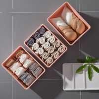 3 unids/set armario caja de ropa interior de plástico cubierta con cajón hogar caja calcetín ropa interior clasificación