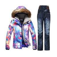 Gsou montaña de invierno traje de esquí barato traje de esquí de nieve juego veste de esquí mujer snowboard chaqueta Mujer denim Pantalones de esquí