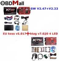En línea V2.47 UE rojo Kess V5.017 OBD2 Gerente de Kit de KTAG V7.020 4 LED Kess V2 5.017 K-TAG 7.020 ecus programador herramienta de sintonización