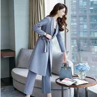 Pantalones anchos de la pierna de las mujeres 2018 nuevo estilo coreano otoño moda elegante de dos piezas Set mujeres largo foso + Pantalones 2 piezas