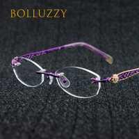 Montura de gafas sin montura vintage a la moda con pedrería para mujer gafas con prescripción óptica montura sin montura 1052 ropa de ojos