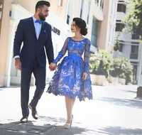 Azul real 2019 elegante vestidos de cóctel vestido manga larga apliques encaje fiesta Plus tamaño vestidos de fiesta