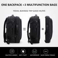 Gran capacidad de 17 pulgadas portátil mochila impermeable multifunción para viajes de negocios a paquete de hombre negro de calidad bolsos