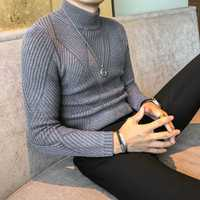 Alta calidad Pull Homme invierno suéter hombres Slim Fit Casual Turnleneck punto jerseys hombres otoño caliente Knitwear suéteres