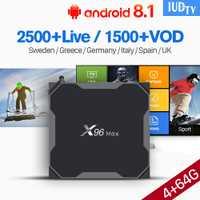 Android Set Top Box Europa IPTV España IUDTV X96 Max 4 + 64G Dual-Band WiFi BT android 8,1 S905X2 turco Albania caja de IPTV