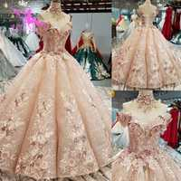 Vestido de novia ruso de la boda de la bola blanca clásica de la espalda abierta barato de los vestidos de la muchacha de la foto Real de AIJINGYU
