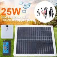Multifuncional de sistema del Panel Solar del cargador del Panel Solar controlador Solar inversores Kit de Panel Solar 25 W Dual USB