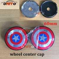 100 piezas 56mm 60mm emblema de coche rueda Centro cubo tapa rueda insignia cubre accesorios de automóvil Capitán América logo