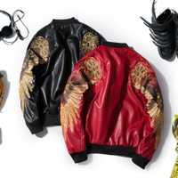 Los hombres de invierno de otoño Ropa nueva de moda de los hombres Rojo Negro de manga larga de chaquetas de cuero amantes bordado vuelo mujeres parejas
