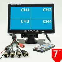12 V-24 V 1024 P 7 pulgadas coche Monitores 4 canal pantalla dividida Quad color para camiones vehículo autobús cámara de marcha atrás DVD AV/Aviación