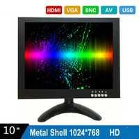 10 pulgadas HD 1024X768 Monitor de CCTV con carcasa de Metal y HDMI VGA AV conector BNC para PC y pantalla Multimedia y Donitor y microscopio