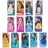 Original tienda de DISNEY Rapunzel elsa Mulan sirena jazmín Merida dormir belleza clásica princesa muñeca figura juguetes para niños