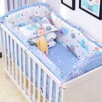 6 pièces/ensemble bleu univers Design berceau ensemble de literie coton enfant en bas âge bébé linge de lit comprennent bébé lit pare-chocs drap de lit taie d'oreiller