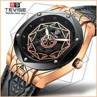 Reloj Automático para hombre de marca Tevise de moda 2019 con reloj mecánico de lujo luminoso esqueleto