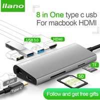 Llano USB HUB USB C a HDMI RJ45 PD Thunderbolt 3 adaptador para MacBook Samsung Galaxy S9/S8 huawei P20 Pro tipo-C USB 3,0 HUB