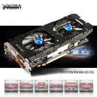 Yeston Radeon RX 580 GPU 8 GB GDDR5 256bit juego de computadora de escritorio PC tarjetas gráficas apoyo DVI/HDMI PCI-E X16 3,0