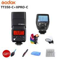 Original GODOX TT350C Flash 2,4g HSS GN36 TTL Mini flash Speedlite + XPRO-C para Canon EOS 800D 650D 600D 750D 77D M5 M3