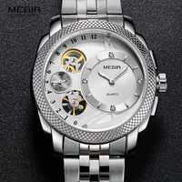 Relojes de pulsera de cuarzo de acero MEGIR para hombre reloj a prueba de agua a la moda Relojes mecánicos decorativos para hombre 2091G-7