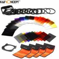K & F concepto 40 en 1 cámara Filtro de lente Kit 24 se graduó a todo Color y filtro + 9 anillo adaptador + 2 titular + Lens Hood + 4 bolsa de filtro