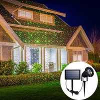 LED Solar al aire libre impermeable cielo rojo y verde estrella láser proyector lámpara jardín Navidad paisaje lámpara de la etapa