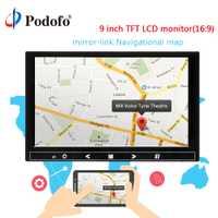 Podofo 9 ''Monitor de coche copia inversa de aparcamiento pantalla LCD TFT LCD Monitor retrovisor Mini TV y pantalla de ordenador soporte AV HDMI VGA