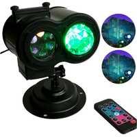 Impermeable doble cabeza Led onda de agua proyector luces con 12 diapositiva patrones mando a distancia juguetes para la fiesta de navidad