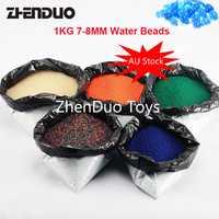 ZhenDuo juguetes 1 kg/lote 7-8mm Color Gel agua bolas cristal bala 5 colores para juguete gun & decoración envío gratis