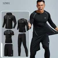 Ropa de entrenamiento para hombre, ropa deportiva para hombre, juegos para correr, juego deportivo cómodo de secado rápido, 5 piezas, M-4XL