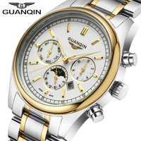 Reloj masculino GUANQIN de lujo de reloj de los hombres de cuarzo multifunción reloj semana Luna calendario fase luminosa reloj de los hombres