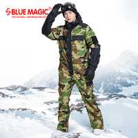 Azul magic impermeable snowboard one piece esquí jumpsuit hombres snowboard-30 grados snow ski suit invierno ropa overol