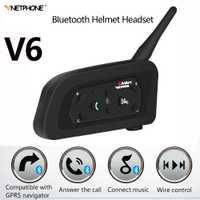 IP65 V6 Multi de la motocicleta Intercomunicador 1200 Metro casco Altavoz Bluetooth auriculares para 6 corredores Interphone MP3 GPS