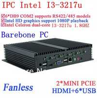 Core I3 mini pc ordenadores industriales con dual Gigabit Ethernet nm70 chip 6 USB 6 RS232 PC Barebone Ventanas o linux