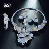 8 de lujo única diseño geométrico africano de Zirconia cúbica de Nigeria, juegos de joyería para las mujeres de la boda perlas nupcial joyería SetsS330