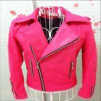 Nuevos hombres chaqueta de cuero Rosa discoteca bar DJ rojo fluorescente Rosa delgado de manga larga de cuero locomotora marea cantante trajes