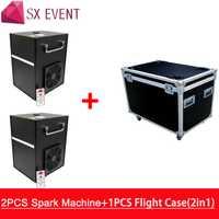 2 piezas de la máquina y de la caja de vuelo 400 w frío chispa fuegos artificiales máquina de fuente de Dmx Control remoto y Control para la boda y la efecto de etapa