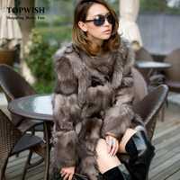 Nouveau manteau de fourrure de renard argenté princesse manteau de fourrure de renard de longue qualité pour femmes hiver véritable veste de fourrure de renard livraison gratuite F0311