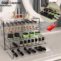 Organizador de joyería de maquillaje cosmético 5 cajones transparente multiusos caja de almacenamiento